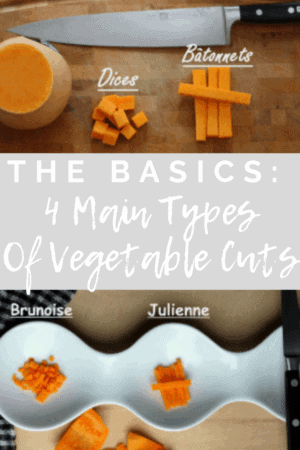 Chopping board with butternut squash cut and a chef knife.basic vegetable main cut and Wavy plate with brunoise and julienne cut of butternut squash, the basics of 4 main vegetable main cuts