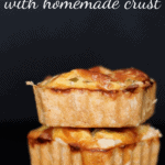 Stack of mini square french quiches