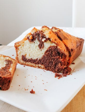 Marble cake sliced showing swirls of chocolate