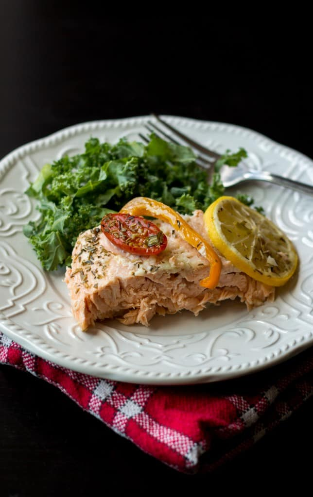 Salmon in a white plate