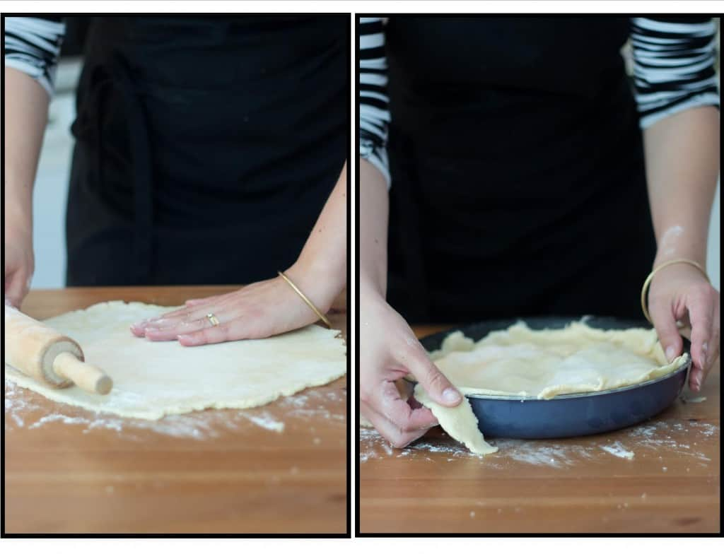 Hands preparing the crust for the French tart tatin.
