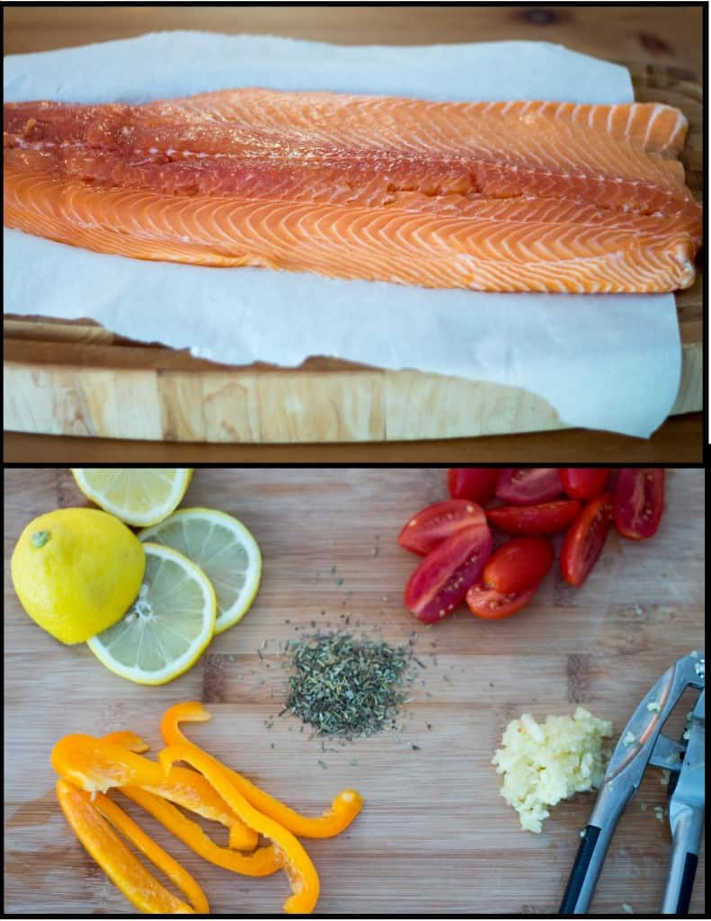 Menu planning: Salmon on cutting board with toppings