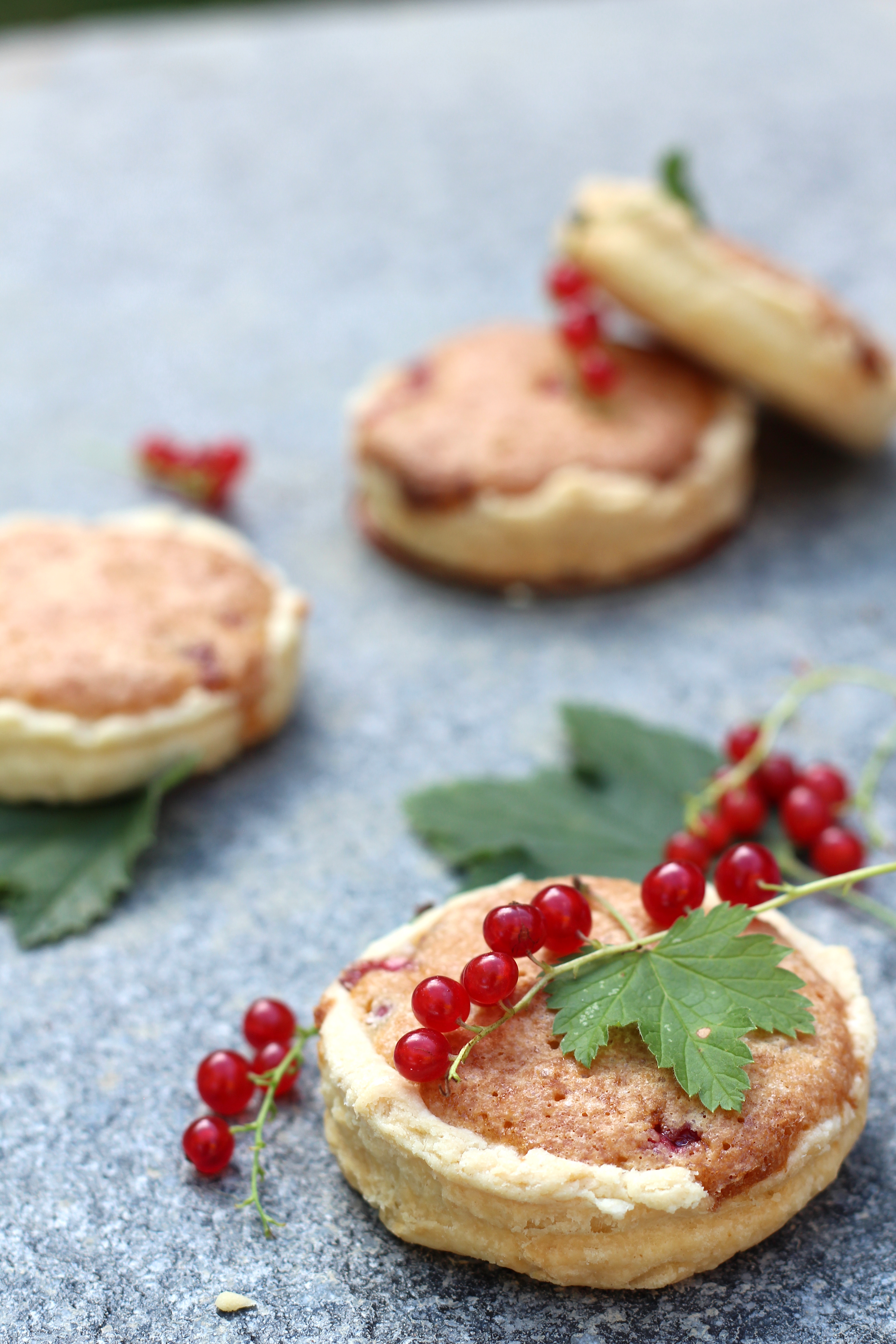 Red currants & almond mini pies