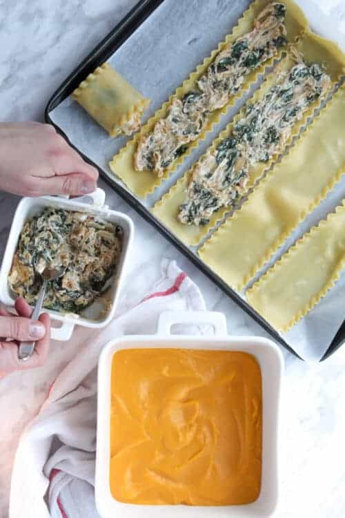 Unrolled pasta with spinach goat cheese and caramelized onion filling