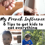 Little hands holding a meatball, an egg, 3 tomatoes and a rolling pins, french boy and girl
