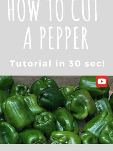 How to cut a pepper: basket of green peppers