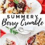 Oven dish filled with a berry crumble. One share is served on a white plate and another plate on the side with 2 spoons.