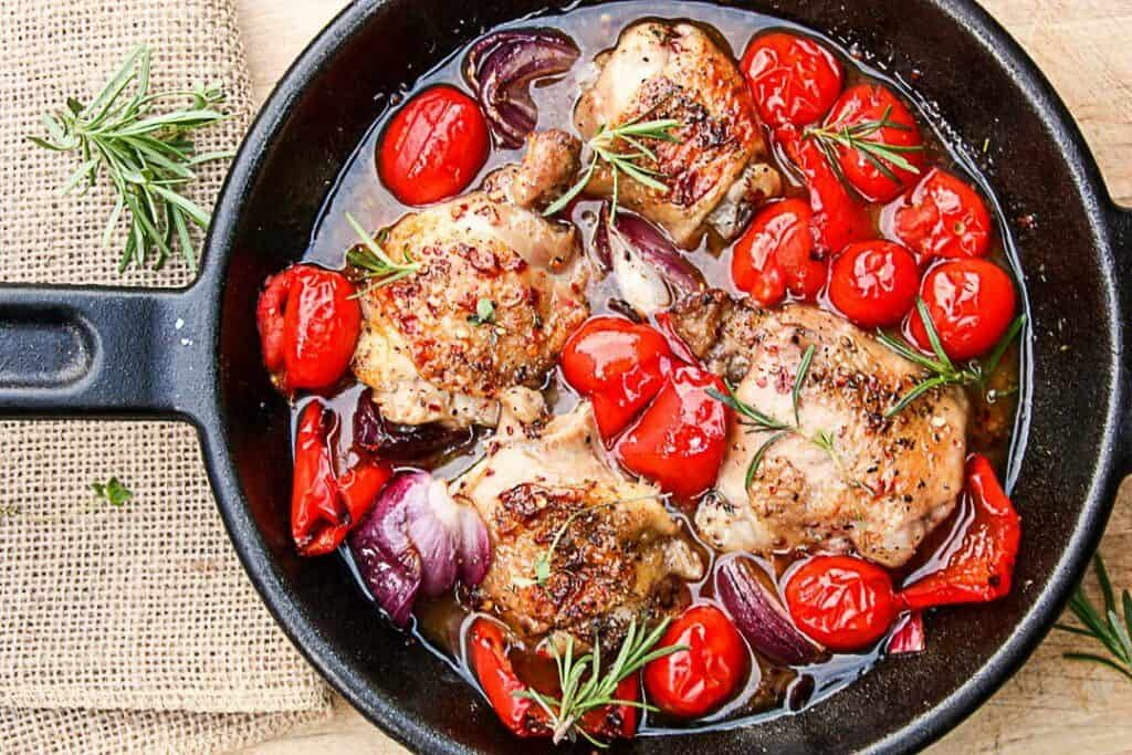 Red Currant Grilled Chicken & Vegetables in a black skillet