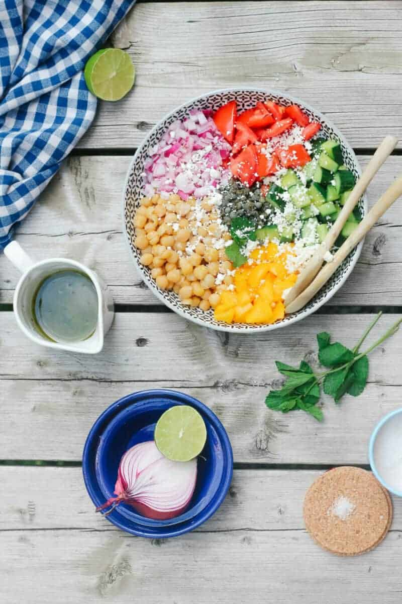Mediterranean Chickpea Salad (with lime & mint dressing)