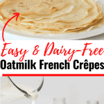 Stack of Oat Milk French crêpes on a white plate with a sugar and jam in the background