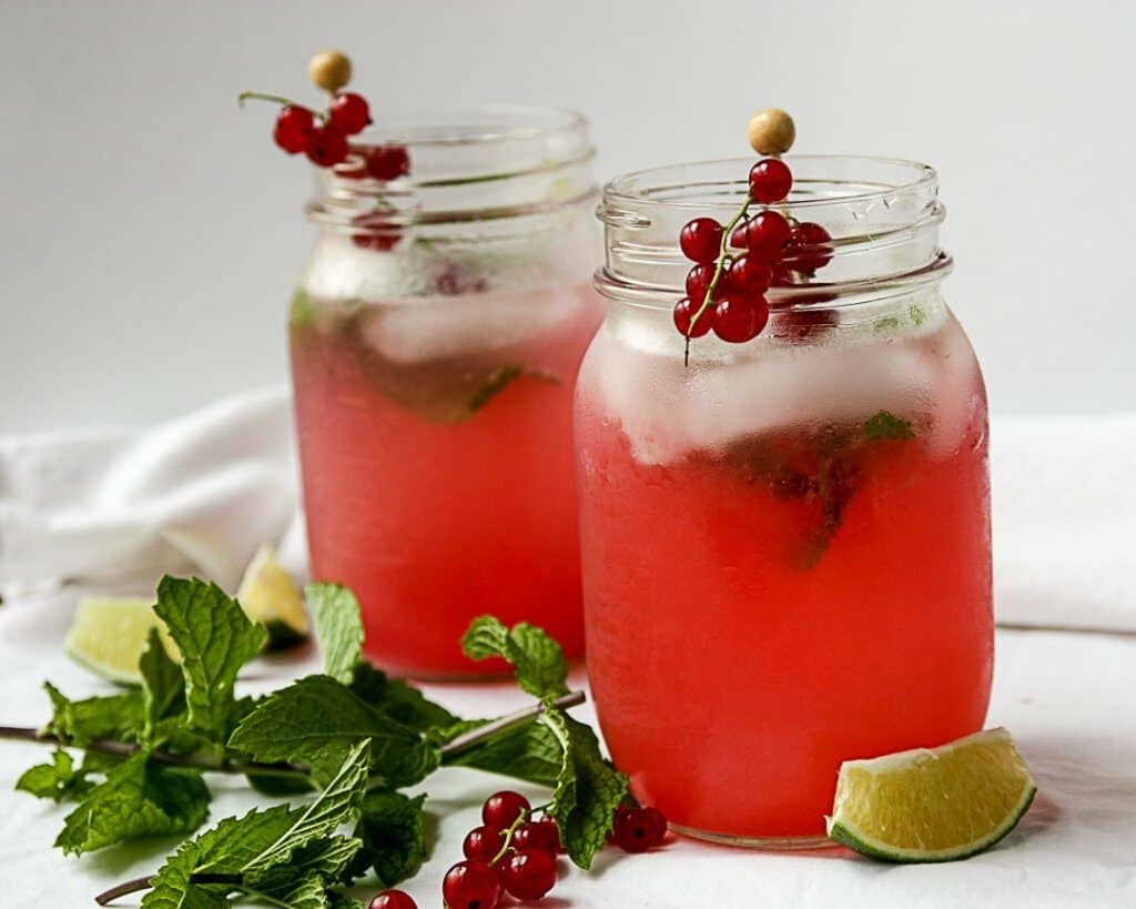 2 6. Red Currant Mohito in mason jars with mint on the side
