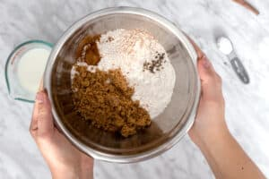 Bowl of dry ingredients: flour, sugar, spices