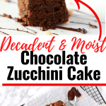 One piece of a chocolate zucchini cake with dripping chocolate and nuts on top