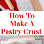 Pie crust on a lightly floured surface with a rolling pin on the side