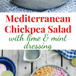 Mediterranean salad assembled with onion and lime on the side in a blue dish