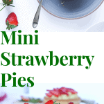 top view of strawberry pies in blue and white plates. one pie has one piece broken and it is in the spoon. some strawberries are spaced.