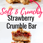 3 strawberry crumble bars stacked on 2 small plates on top of a vintage book. 2 fresh strawberries on the side.