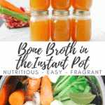 6 mason jars stacks together, all filled with bone broth instant pot