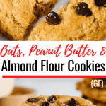 Stack of Peanut Butter Almond Flour Cookies cut in 2 to show