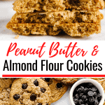 Top view of a hand grabbing a Peanut Butter Almond Flour Cookie, one broken in 2.