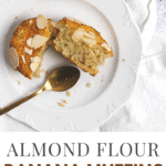 Top view of a slides almond flour muffins in a white plate
