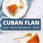 Top view of cuban flan slices served in a small white plates with golden spoons.