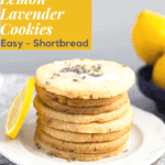 side view of a stack of lemon lavender cookies, it has a drizzle on it.