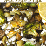 close up of roasted potatoes and broccoli