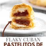 Side view of a sliced guava pastry showing the cream cheese and the guava paste